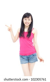 young girl pointing copy space, isolated on white background