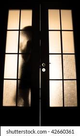 Young girl posing behind the glass door