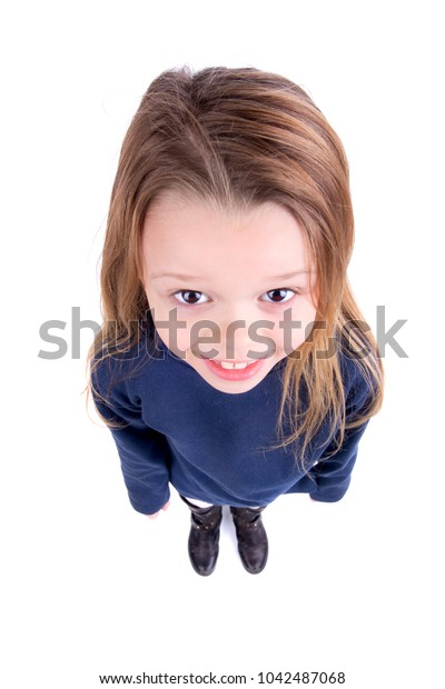 Young girl posing isolated in white