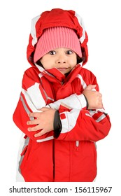 Young girl posing in winter clothing isolated in white