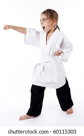 young girl practicing karate