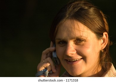 young girl (pregrnant) talking on cell phone