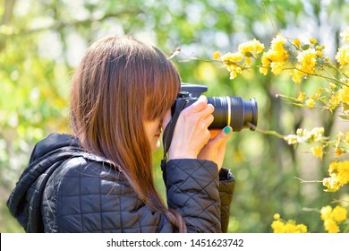 Young Girl Profile Photographs Yellow Flowers Stock Photo Edit Now 1451623742