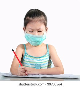 young girl with protection mask against flu virus
