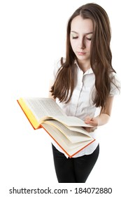 young girl is reading a book while standing isolated on a white background