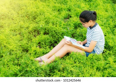 Young girl reading in green meadow countryside nature in evening light vintage style