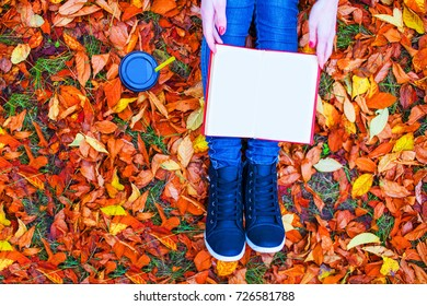 young girl reads a book and holds a paper mug in her hands, autumn in the park,  copy-space