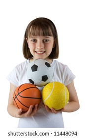 Young girl ready for a game of ball