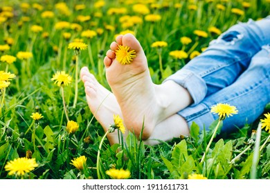 Young girl resting in a dandelion field