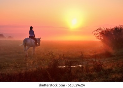 Young girl riding on horse during wonderful calm autumn morning full of mist and gold light
