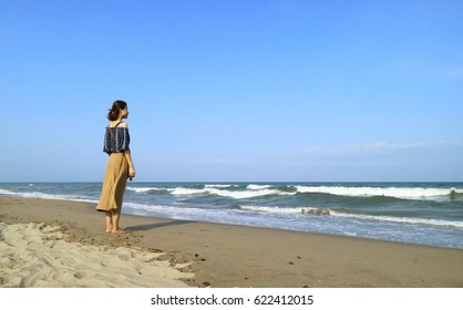 Young girl in Samson beach Thanh Hoa Vietnam