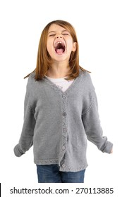 Young girl screaming isolated in white