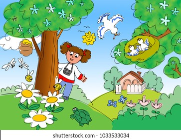 Young girl is shooting photos in the nature in spring. Illustration for children.