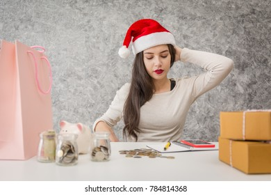 Young girl shopping on christmas day or xmas sale time holiday.