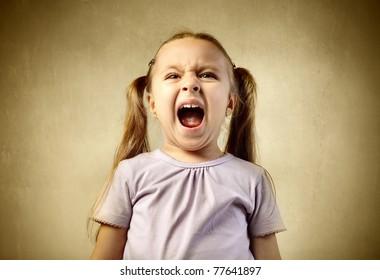 Young girl shouting
