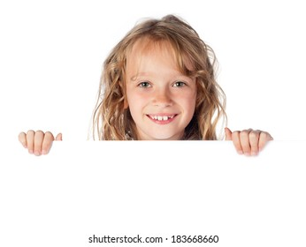 Young girl showing blank sign