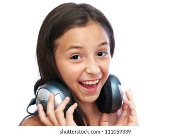 The young girl is singing the song