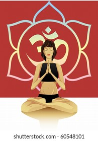 A young girl sitting in the lotus position, hands namaste
