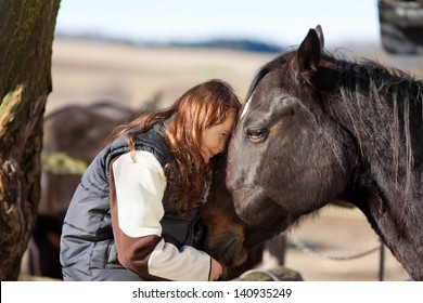 Young girl sitting in the wooden paddock fence pets her dark bay horse