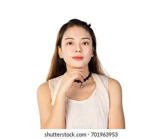 young girl skin care pose