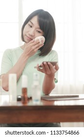 young girl skin careing in everyday.
