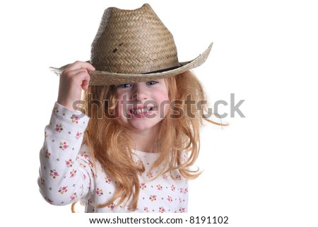 Young Girl Smiling Cowboy Hat Silly Stock Photo (Edit Now) 8191102 ... 89f7b41de53