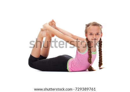 adf9753ce Young Girl Smiling Doing Gymnastic Exercises Stock Photo (Edit Now ...