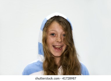 Young Girl Smiling Dressed in a Hood-ie