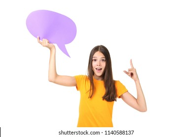 Young girl with speech bubble on white background