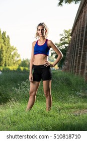 Young girl sportive outdoor