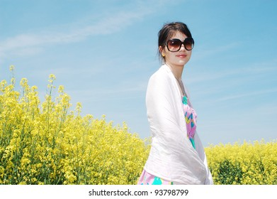 Young girl in a springtime meadow.