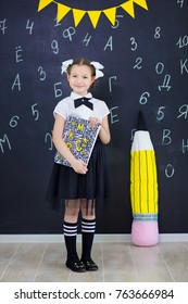 Young girl standing in front of chalkboard with letters of the alphabet and holding stick of chalk in hand