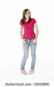 Young Girl Standing In Studio