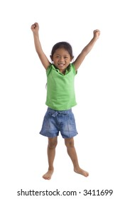 A young girl stands tall and raises her arms above her head....ya...........