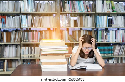 Young Girl Student with Glasses Reading book Overlap Serious, Hard Exam, Quiz, Test Sleeping headache worry in Classroom Education Library High school University Knowledge center