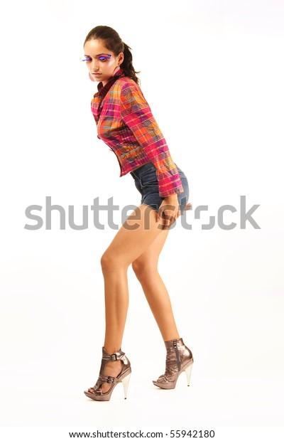 Girl Studio High Heels Stock Photo