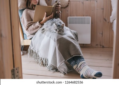 Young girl in sweater and warm socks relaxing on chair with cat and reading book in log cabin near electric heater