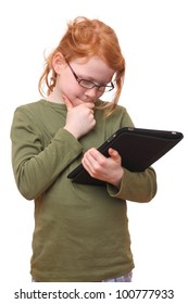 Young girl with tablet computer on white background