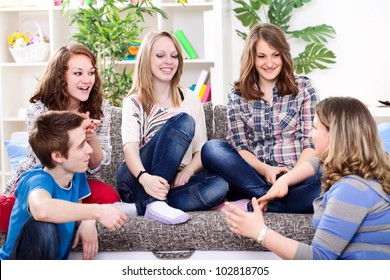 young girl talking with her friends