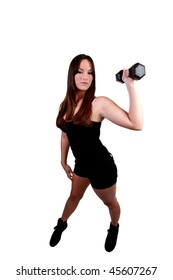 Young girl teen holding black dumbbell weight mixed ethnic