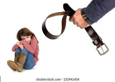 Young girl terrified od her father's physical punishment with a belt