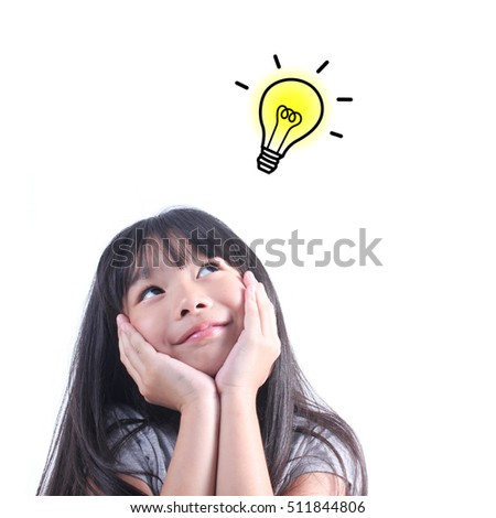 young girl thinking back school concept idea の写真素材 今すぐ編集