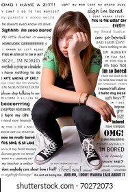 A young girl with an unhappy expression, surrounded by her overwhelming thoughts