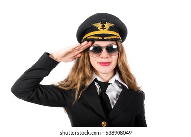 Young girl in the uniform of an airplane pilot. The modern concept, trasport, flight. Isolated on white background.