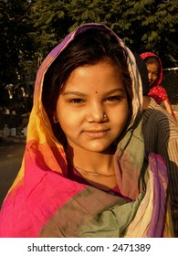 young girl in a village in india