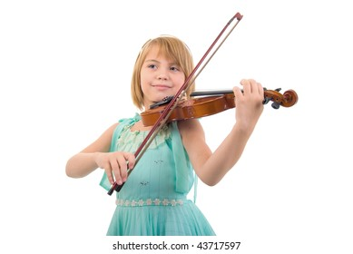 Young Girl With Violin. Studio Shoot Over White Background