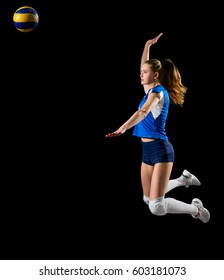 Young girl volleyball player isolated