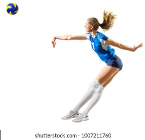 Young girl volleyball player (ver with ball)