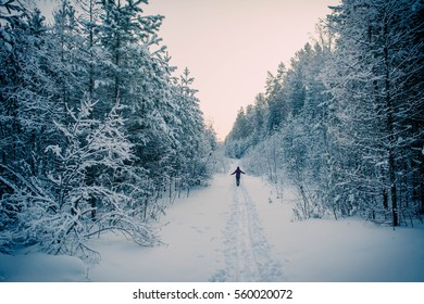 Young girl is walking alone