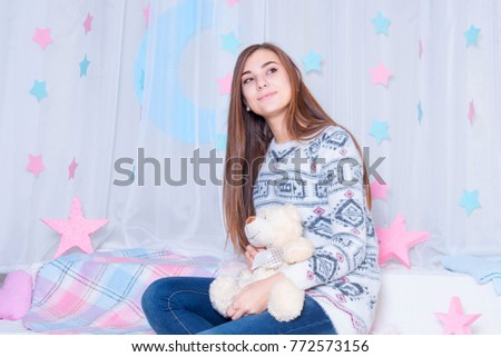 294d5c81fbe291 Young Girl Wearing Pajamas In Bed With Cuddly Toy. Cute teenage girl rest  at home